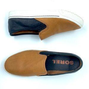 Sorel • Campsneak Black and Tan Leather Slip Ons